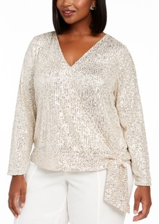 INC International Concepts Inc Plus Size Sequinned Surplice Top, Created For Macy's