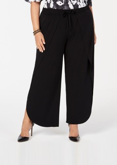 INC International Concepts I.n.c. Plus Size Soft Overlay Wide-Leg Pants, Created for Macy's