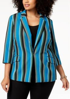 INC International Concepts I.n.c. Plus Size Striped 3/4-Sleeve Blazer, Created for Macy's