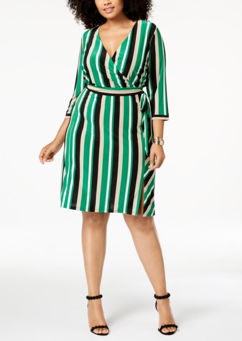 INC International Concepts I.n.c. Plus Size Striped Faux-Wrap Dress ...
