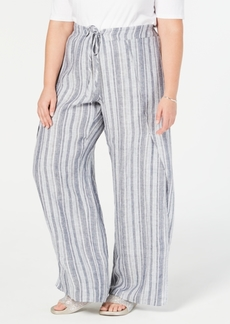 INC International Concepts I.n.c. Plus Size Striped Linen-Blend Wide-Leg Pants, Created for Macy's