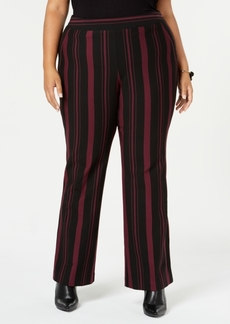 INC International Concepts I.n.c. Plus Size Striped Ponte-Knit Pants, Created for Macy's