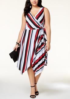I.n.c. Plus Size Striped Wrap Dress, Created for Macy's