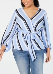 INC International Concepts I.n.c. Plus Size Striped Wrap Top, Created for Macy's