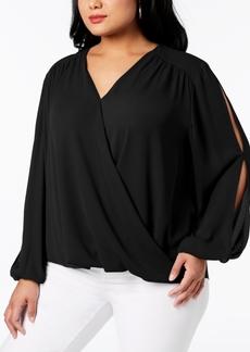 INC International Concepts I.n.c. Plus Size Surplice-Neck Split-Sleeve Blouse, Created for Macy's