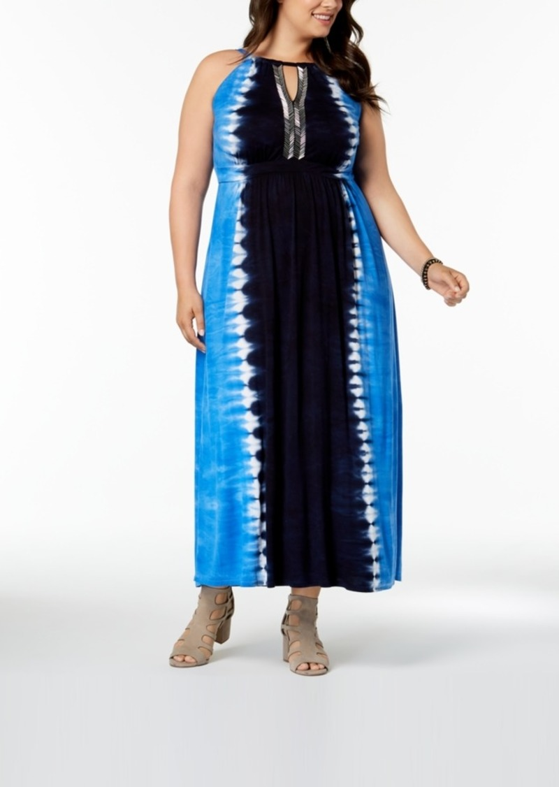 I.n.c. Plus Size Tie-Dyed Maxi Dress, Created for Macy\'s