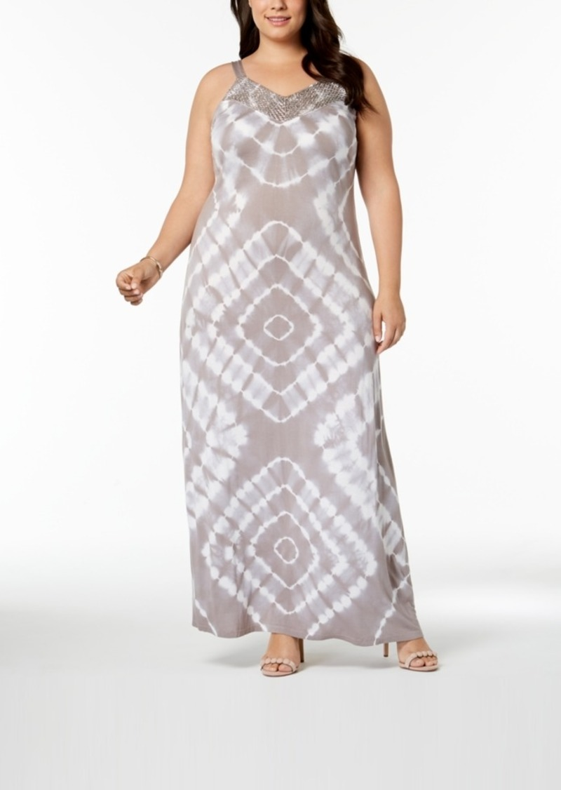 SALE! INC International Concepts I.n.c. Plus Size Tie-Dyed Maxi Dress,  Created for Macy\'s