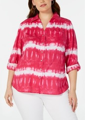 INC International Concepts I.n.c. Plus Size Tie-Dyed Rhinestone-Button Cotton Top, Created for Macy's
