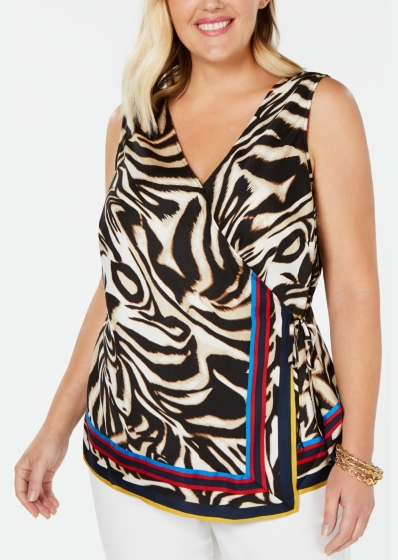 INC International Concepts Inc Plus Size Tiger-Print Wrap Top, Created for Macy's