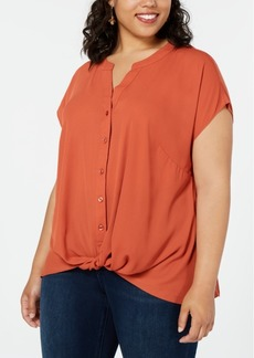 INC International Concepts I.n.c. Plus Size Twist-Front Top, Created for Macy's