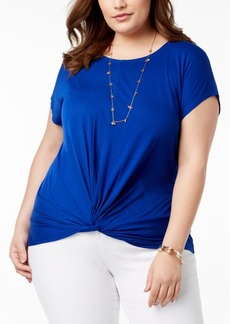 INC International Concepts I.n.c. Plus Size Twist-Hem T-Shirt, Created for Macy's