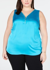 INC International Concepts I.n.c. Plus Size Zip-Front Tank Top, Created for Macy's