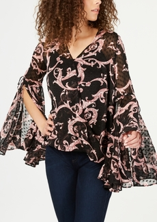 INC International Concepts I.n.c. Printed Bell-Sleeve Blouse, Created for Macy's