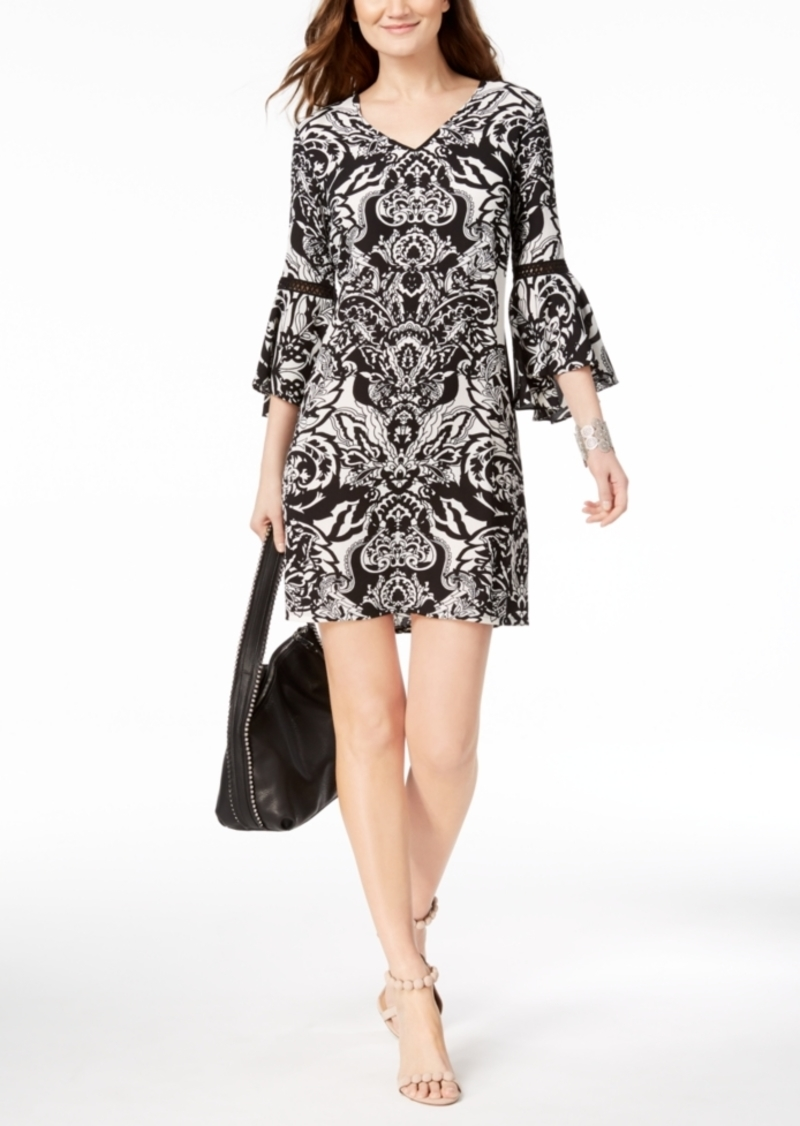 Inc International Concepts Inc Printed Bell Sleeve Dress Created