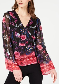 INC International Concepts I.n.c. Printed Bell-Sleeve Wrap Top, Created for Macy's