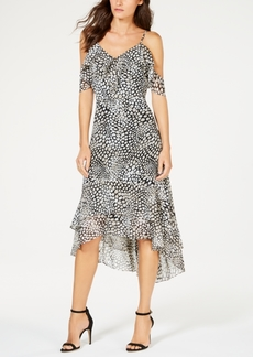 INC International Concepts I.n.c. Printed Cold-Shoulder Flounce Dress, Created for Macy's