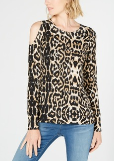 INC International Concepts I.n.c. Printed Cold-Shoulder Sweater, Created for Macy's