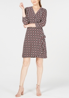 INC International Concepts I.n.c. Petite Printed 3/4-Sleeve Faux-Wrap Dress, Created for Macy's