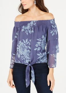 INC International Concepts I.n.c. Printed Off-The-Shoulder Tiered-Sleeve Blouse, Created for Macy's