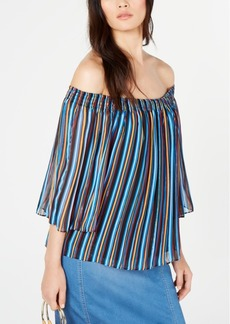 INC International Concepts Inc Printed Pleated Off-The-Shoulder Top, Created for Macy's