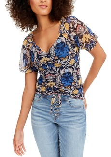 INC International Concepts Inc Printed Ruched-Front Top, Created for Macy's
