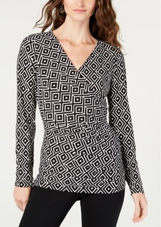 INC International Concepts I.n.c. Printed Ruched Surplice Top, Created for Macy's