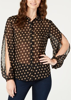 INC International Concepts I.n.c. Printed Split-Sleeve Blouse, Created for Macy's