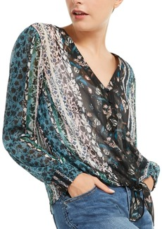 INC International Concepts Inc Printed Tie-Front Blouse, Created for Macy's