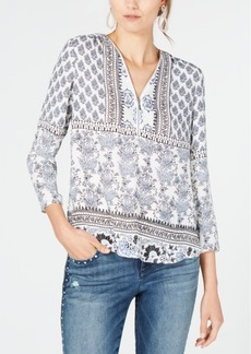 INC International Concepts Inc Printed Zip-Neck Top, Created for Macy's
