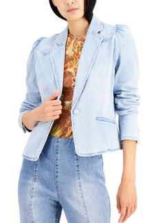 INC International Concepts Inc Puff-Sleeve Denim Blazer, Created for Macy's