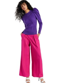 INC International Concepts Inc Puff-Sleeve Rib-Knit Sweater, Created for Macy's
