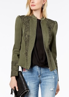 I.n.c. Puffed-Shoulder Lace-Contrast Jacket, Created for Macy's