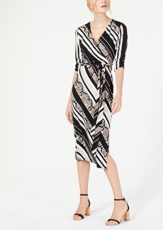 INC International Concepts I.n.c. Python-Print Striped Wrap Dress, Created for Macy's