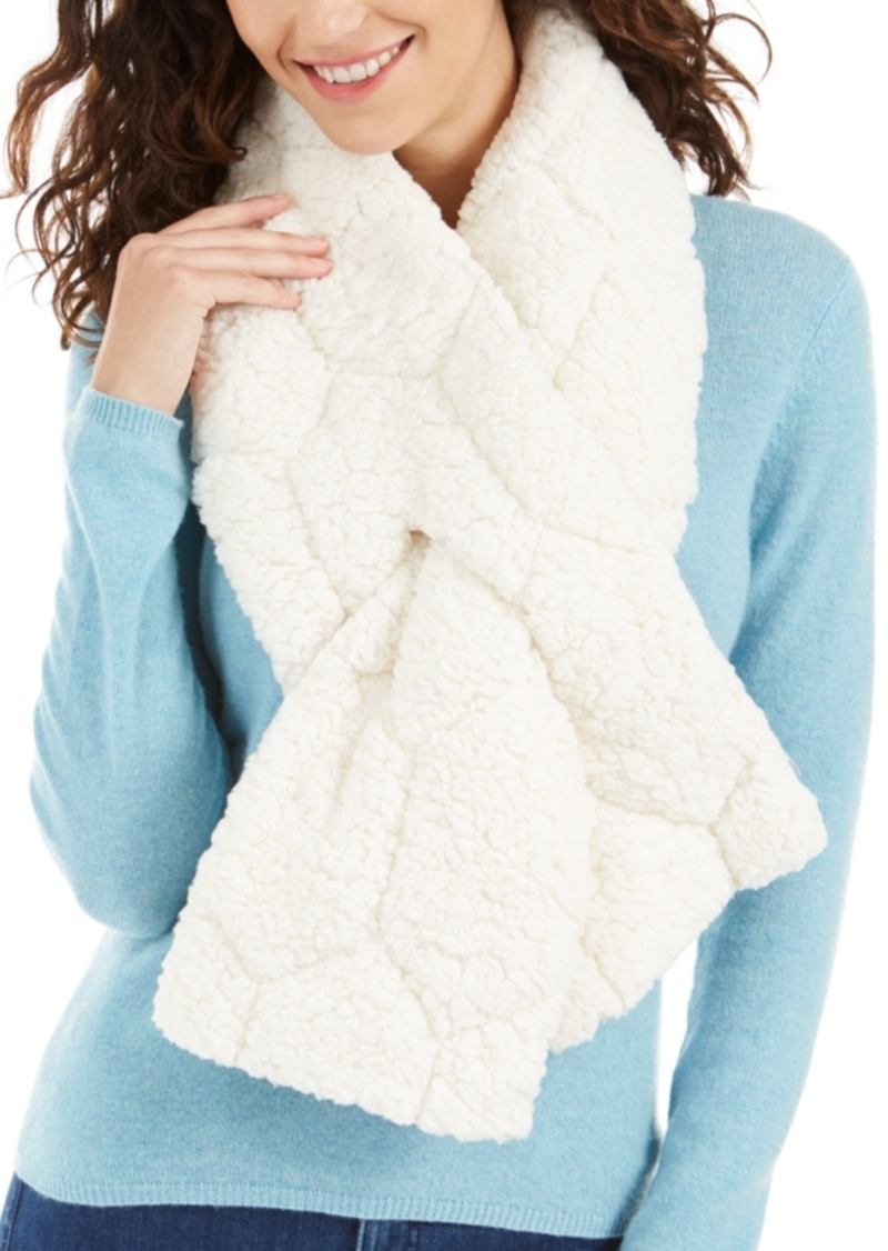 INC International Concepts Inc Quilted Teddy Faux-Fur Puffer Muffler Scarf, Created For Macy's