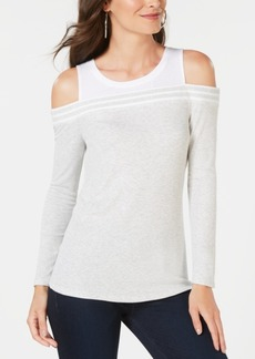 INC International Concepts Inc Ribbed Cold-Shoulder T-Shirt, Created for Macy's