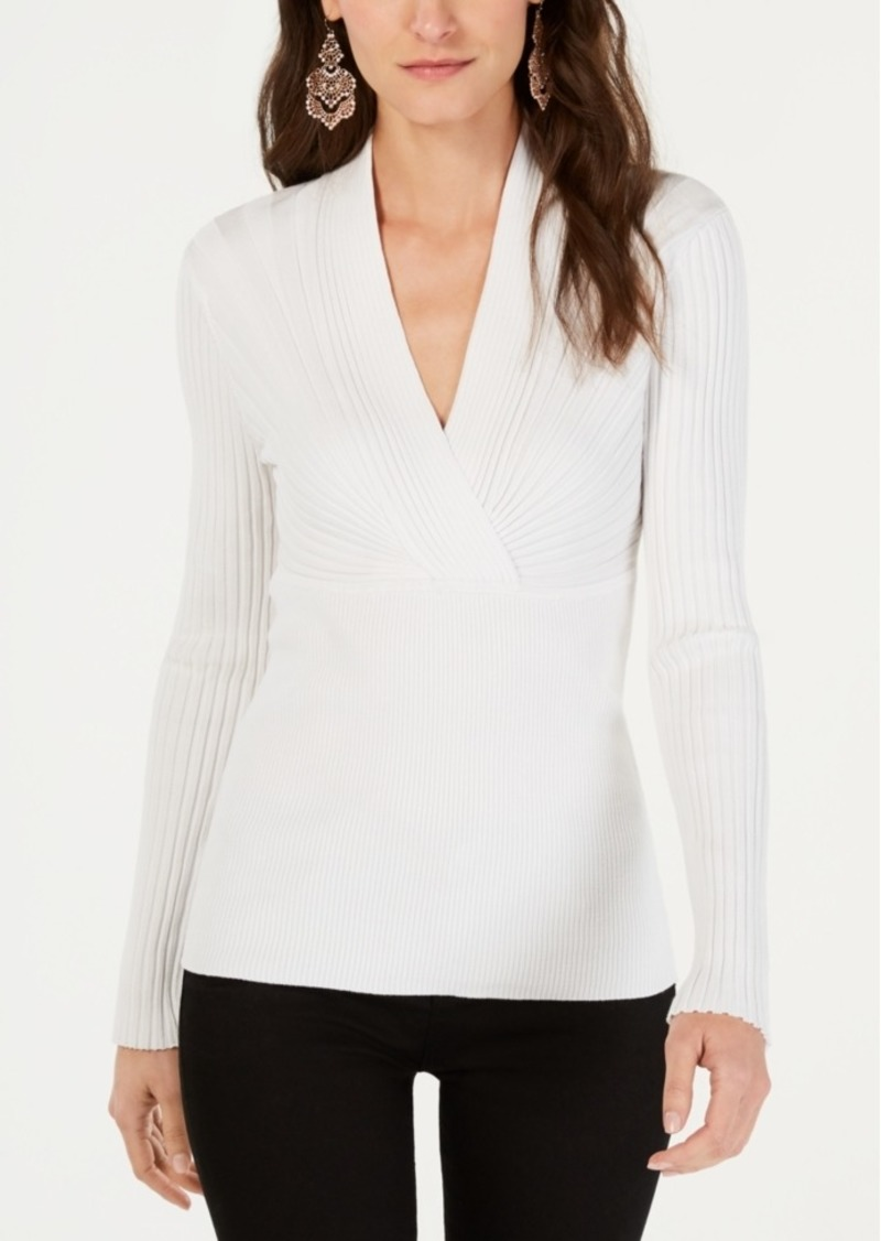 INC International Concepts Inc Ribbed Surplice Sweater, Created for Macy's