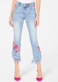 INC International Concepts Inc Rose-Embroidered Fringe Skinny Cropped Jeans in Curvy, Created for Macy's