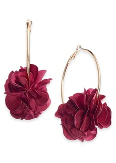 INC International Concepts Inc Fabric Flower Hoop Earrings, Created for Macy's
