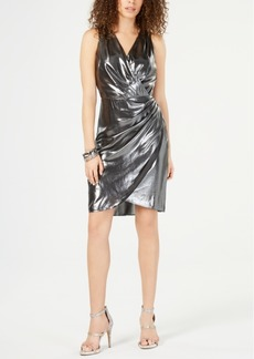 INC International Concepts I.n.c. Ruched Foil Surplice Dress, Created for Macy's