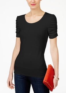 INC International Concepts Inc Ruched-Sleeve Top, Created for Macy's