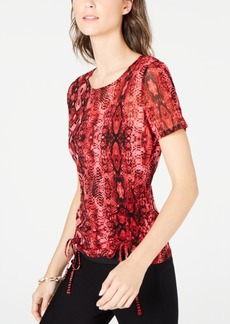 INC International Concepts Inc Ruched Tie Snake Print Top, Created for Macy's