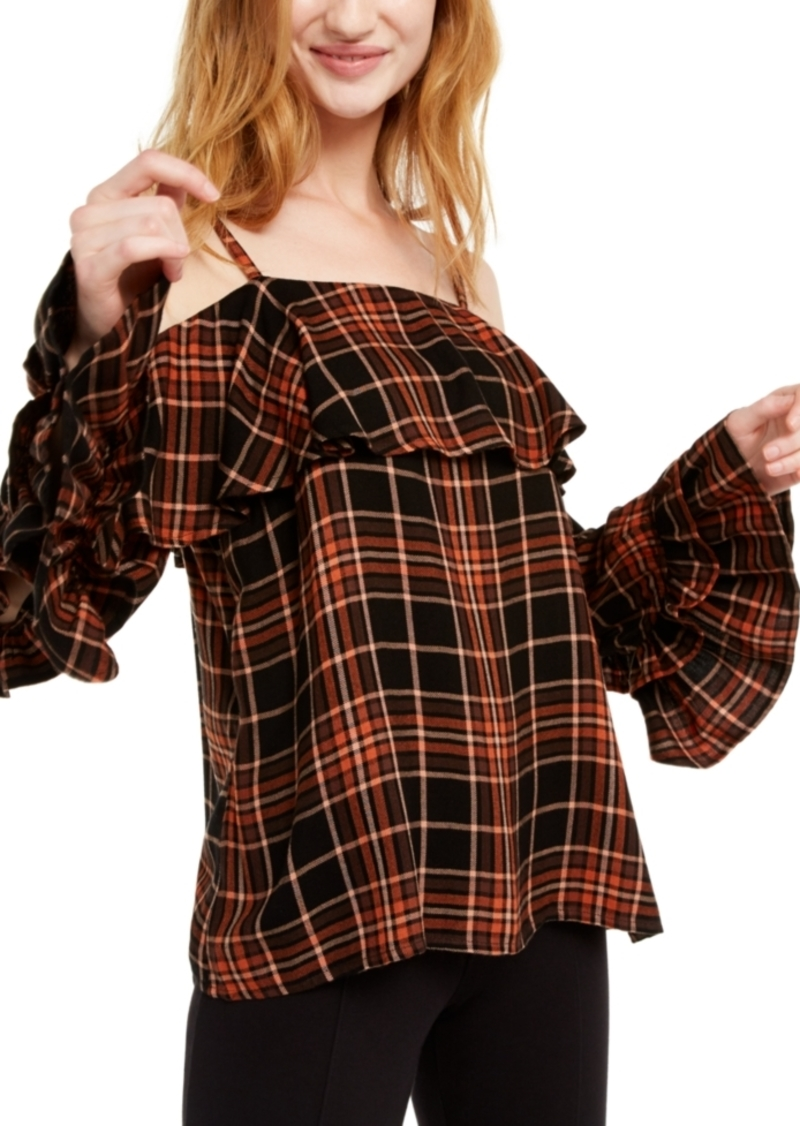 INC International Concepts Inc Ruffled Cold-Shoulder Plaid Top, Created For Macy's