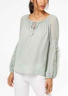 INC International Concepts I.n.c. Ruffled Contrast Peasant Blouse, Created for Macy's