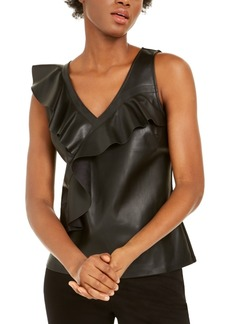 INC International Concepts Inc Ruffled Faux-Leather Top, Created for Macy's