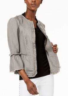 I.n.c. Ruffled Linen Frayed-Trim Jacket, Created for Macy's