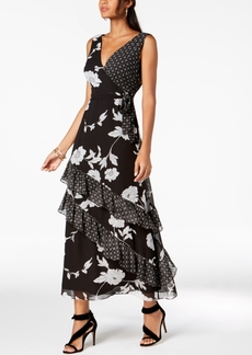 INC International Concepts I.n.c. Ruffled Mixed-Print Maxi Dress, Created for Macy's