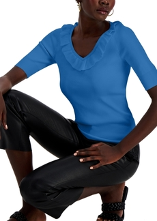 INC International Concepts Inc Ruffled Ribbed Sweater, Created for Macy's