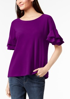 INC International Concepts Inc Ruffled-Sleeve Top, Created for Macy's