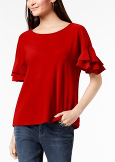 INC International Concepts Inc Ruffled-Sleeve Top, Created for Macy's