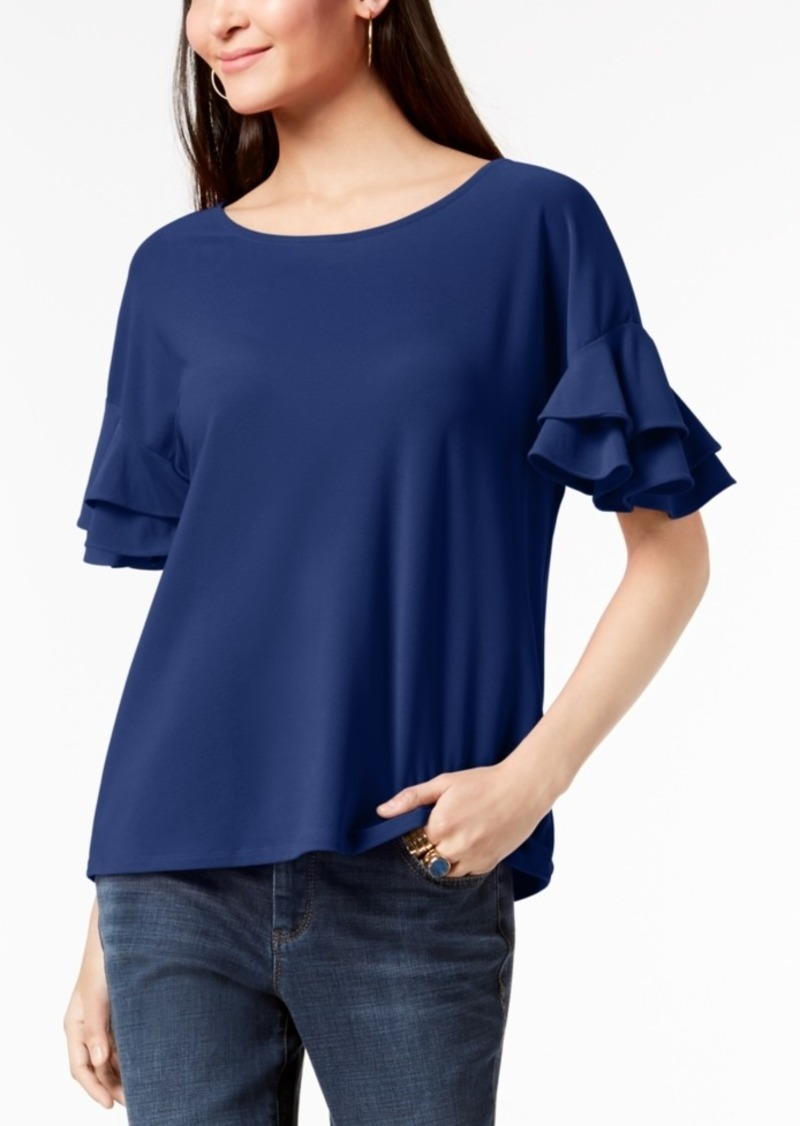 INC International Concepts I.n.c. Ruffled-Sleeve Top, Created for Macy's
